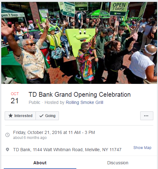 New bank branch grand opening Facebook event