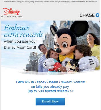 Email marketing for Disney Dream Rewards bill pay offer