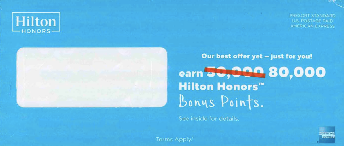 OE for Hilton Honors rewards with 80,000 points offer