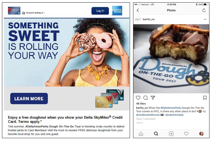 Web and social media marketing for #DeltaAmexPerks dough-on-the-go