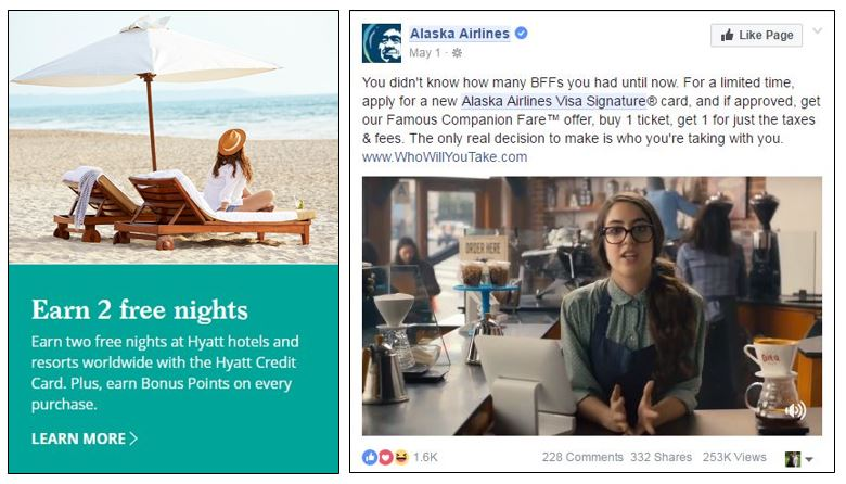 Hyatt web marketing for 2-night offer, Alaska Airlines Facebook ad for companion ticket
