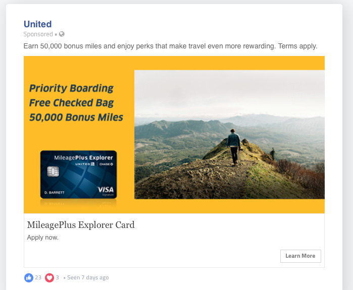 Facebook ad for United travel rewards credit card offer