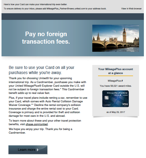 Email marketing for United offer related to foreign transaction fees