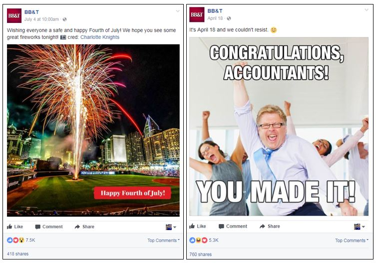 BB&T Facebook posts with higher than average social engagement
