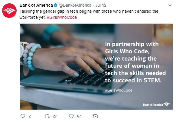 Engaging Bank of America tweet
