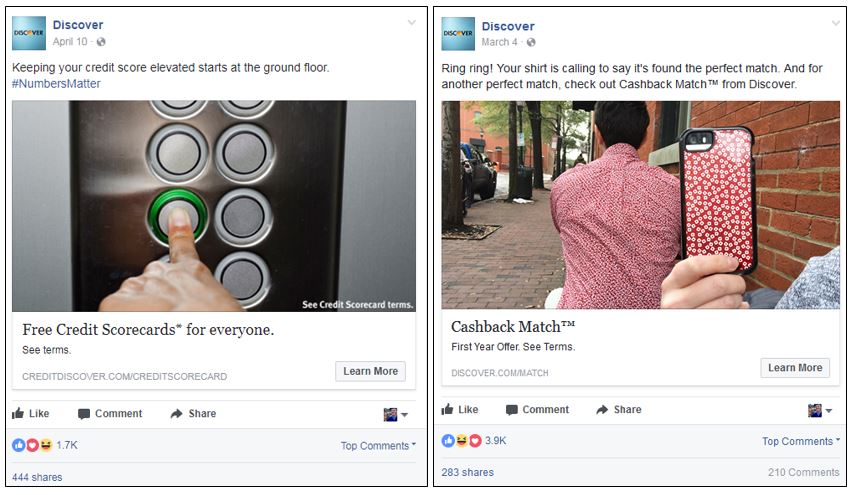 Facebook posts from Discover with higher social engagement