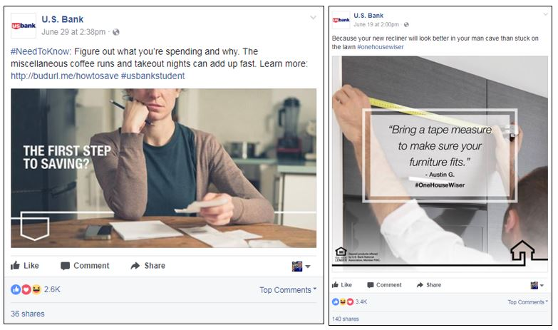 U.S. Bank Facebook posts with money tips and user generated advice