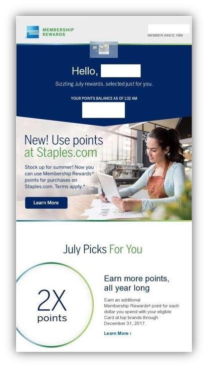 American Express accelerated rewards earn
