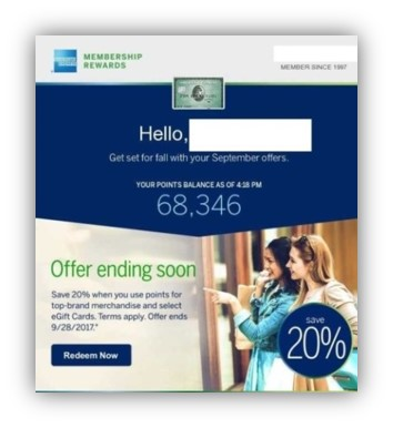 American Express rewards discount offer