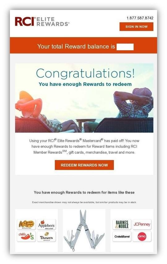 RCI Elite credit card rewards offer