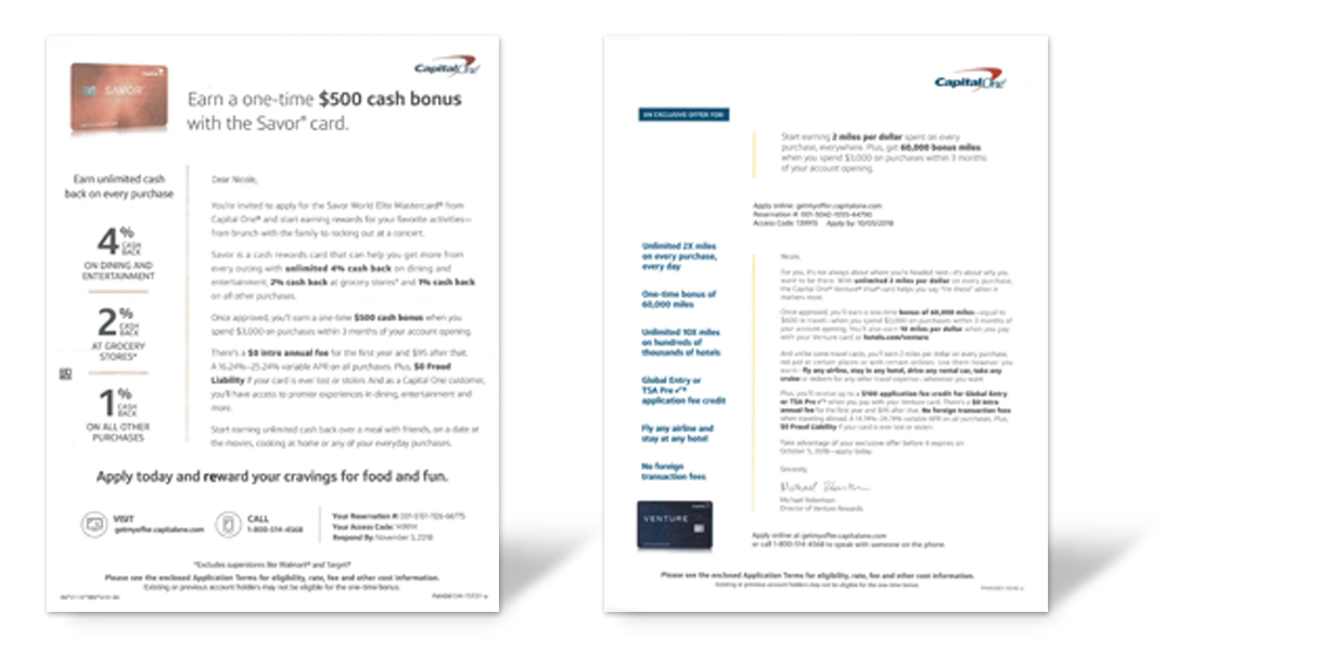 Capital One acquisition campaign letters