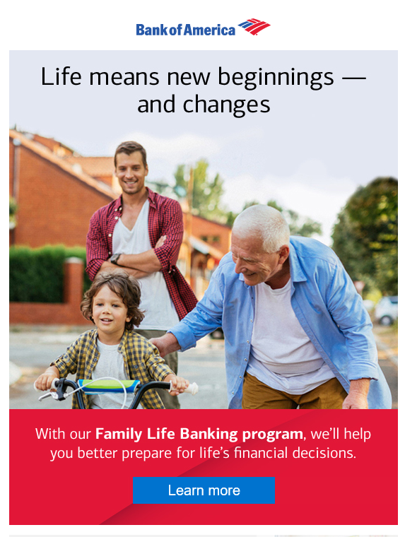 Bank of America email marketing for life stages products