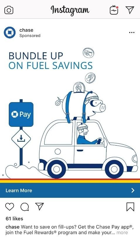 Chase Pay Instagram ad with fuel savings offer