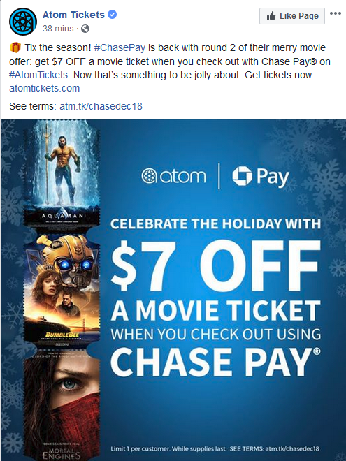 Chase Pay partner Facebook ad