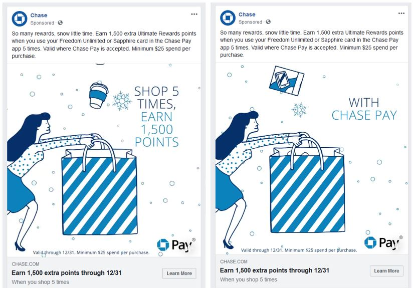 social media ads for Chase Pay