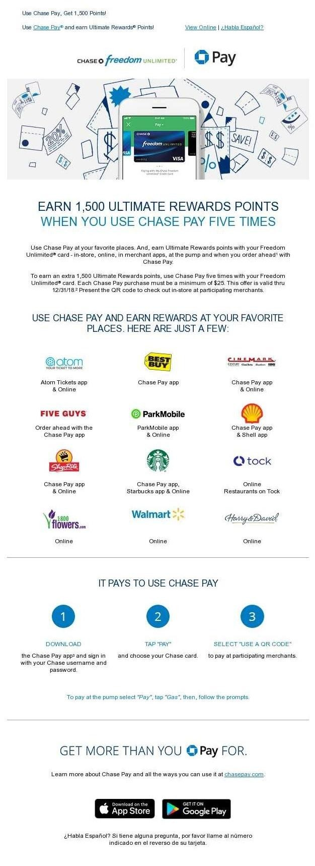 Chase is Marketing Chase Pay with Multiple Offers, Including