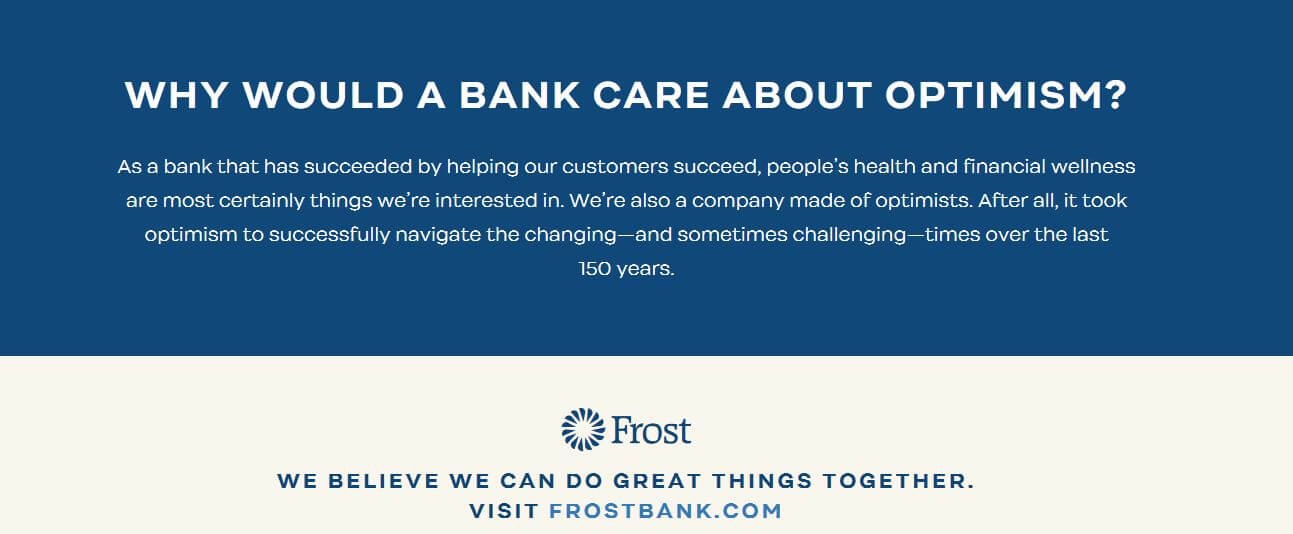 Frost Bank Opt for Optimism