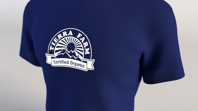 Front of blue tshirt with logo