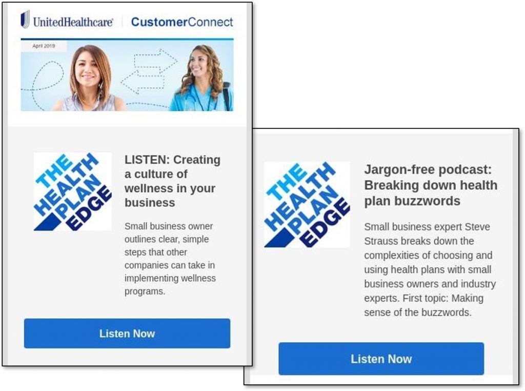 Podcasts - United HealthCare, BCBS Texas, Cigna