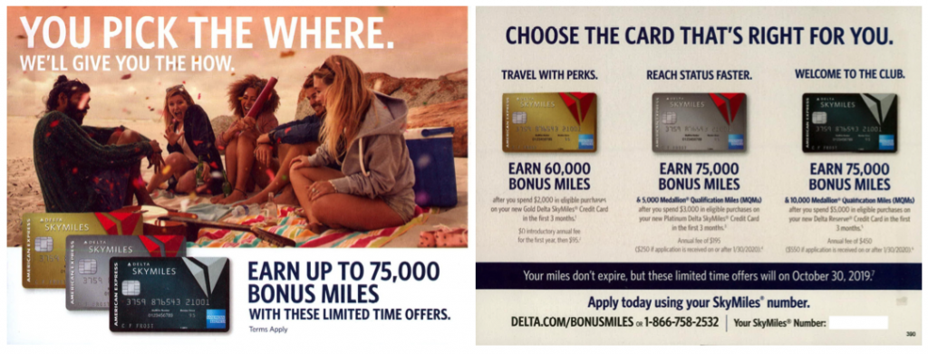 Direct mail piece with bonus miles offer from the updated Delta-Amex co-brand credit card line-up.