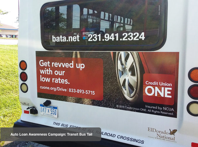 Advertisement on back of bus.