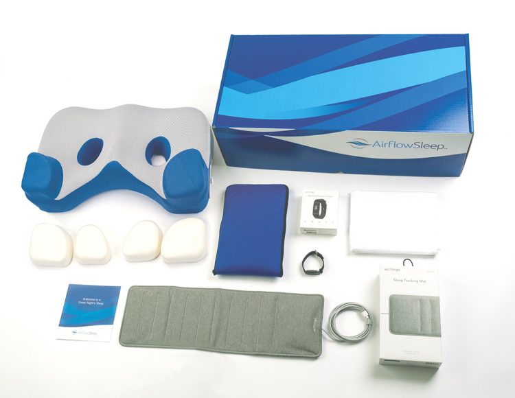 Airflow Sleep side pillow packaging and contents