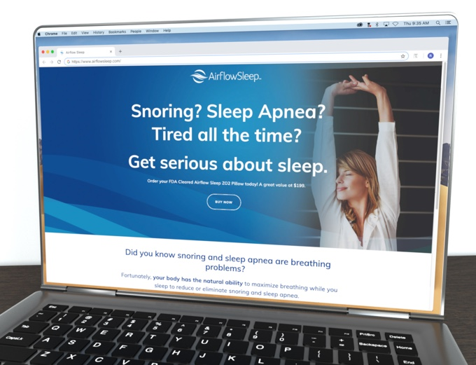 Airflow sleep website on laptop