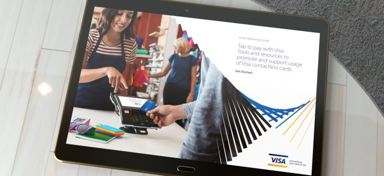 Issuer Marketing Visa Guide displayed on Tablet on table top