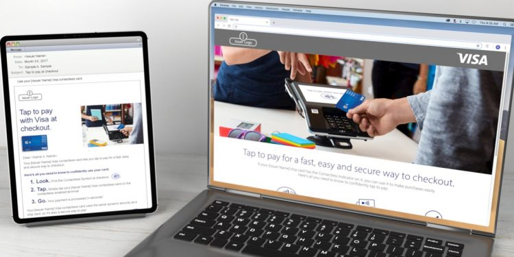 Visa Contactless email displayed on a tablet and Visa Contactless landing page displayed on laptop
