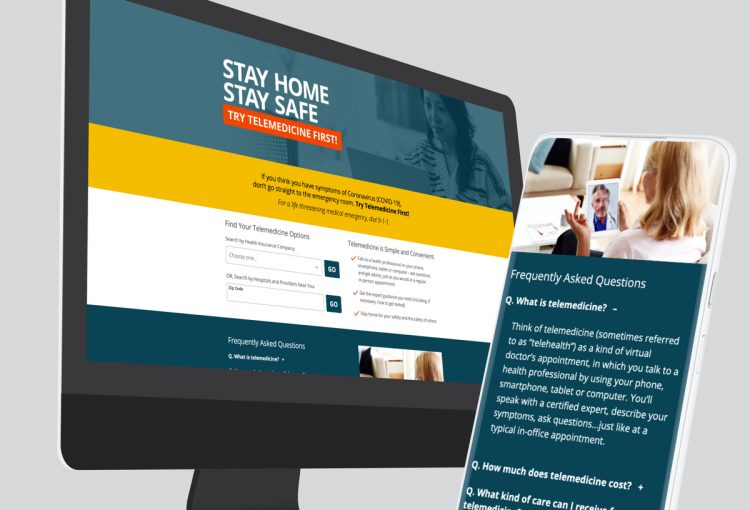 Landing page shown on desktop computer and mobile phone.