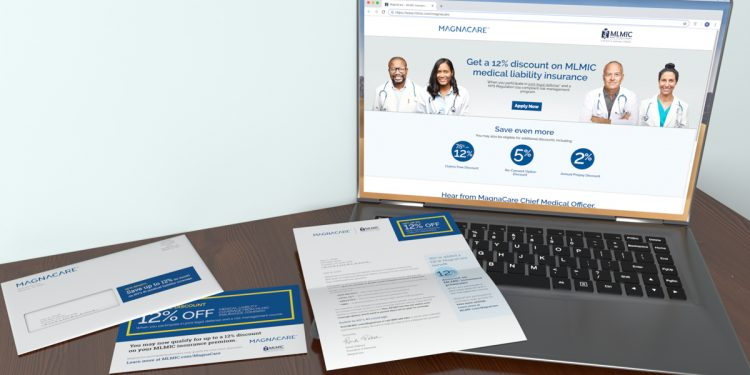 MLMIC-Magnacare landing page displayed on a laptop with an informational letter and postcard