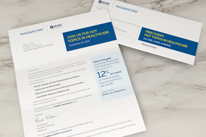 MLMIC-Magnacare informational letter and corresponding envelope