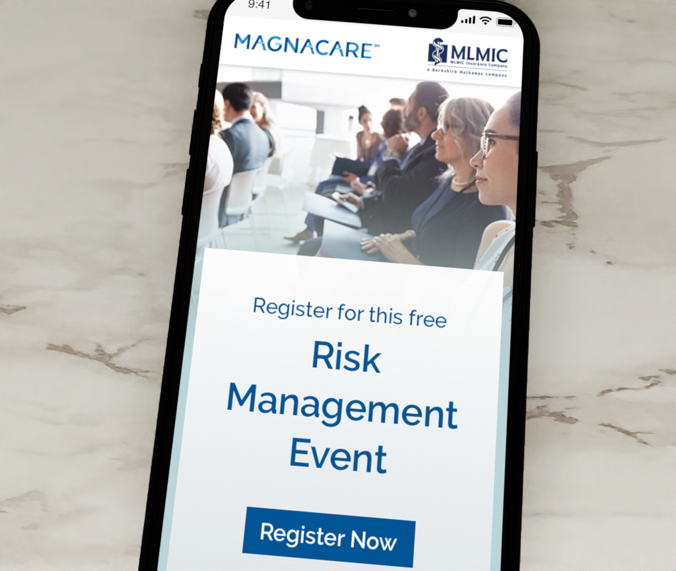 MLMIC-Magnacare risk management event email displayed on iPhone
