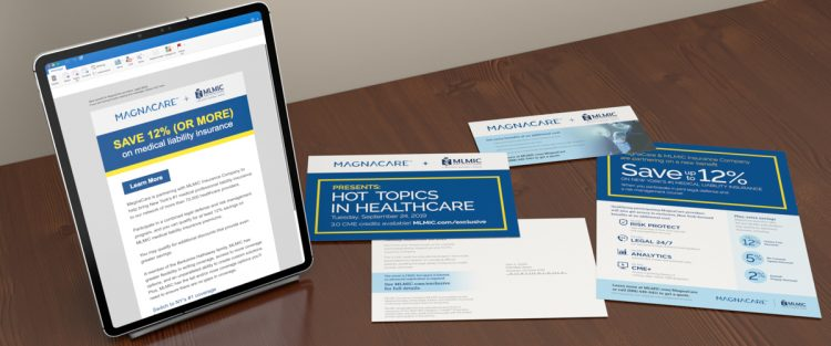 MLMIC-Magnacare email shown on ipad with informational flyer, postcard and buckslip