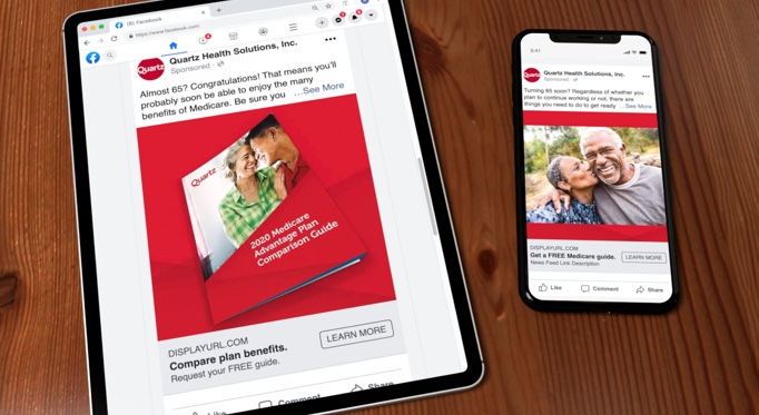 Tablet and iPhone side by side both showing different Quartz Facebook ads