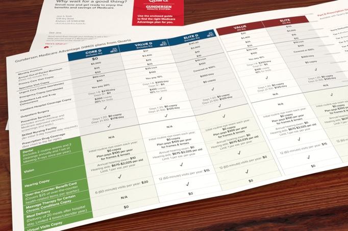 Close up on a chart within Quartz plan comparison brochure