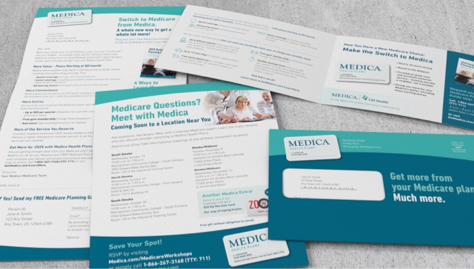 Medica letter, one sheet and opened brochure with corresponding envelope