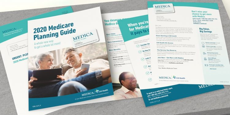 A Medica brochure, one sheet, and letter with corresponding envelope
