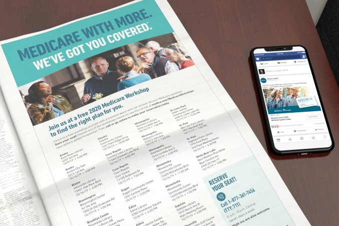 Medica newspaper print ad with an iPhone displaying a Medica Facebook social post