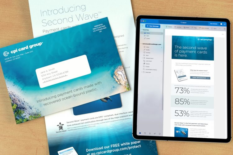 An open CPI direct mailer with corresponding envelope, lying next to a CPI Second Wave email displayed on an Ipad