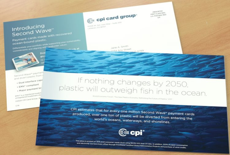 Front and back of a CPI direct mail postcard on wooden table top