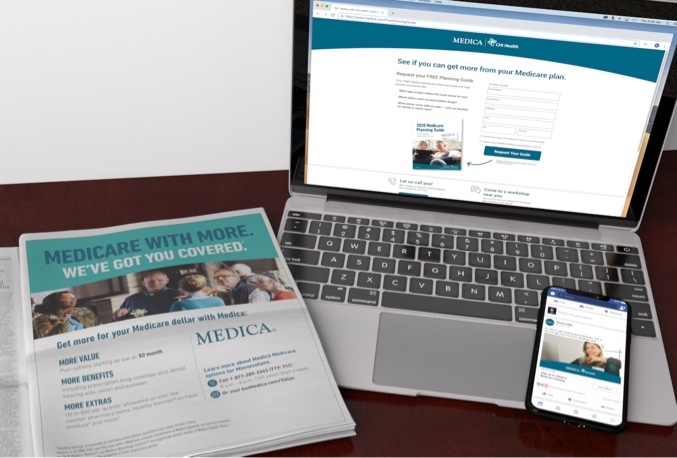 A Medica newspaper print ad, lying next to an open laptop displaying a Medica landing Page as well as an iPhone with a Medica Facebook social post.