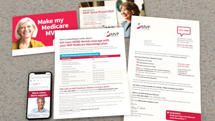 MVP direct mail package with letter, one sheet, buckslip, and envelope. next to an iPhone with an MVP FB social ad