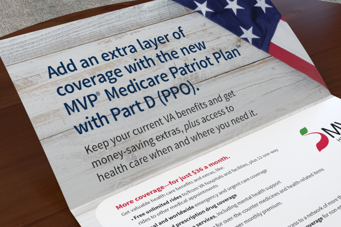 Close up of the inside of a MVP Veterans self mailer