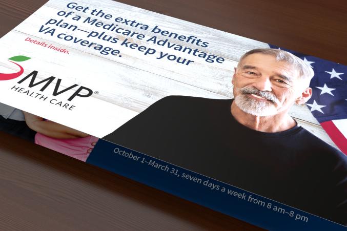 Outside of a MVP veterans folded self mailer