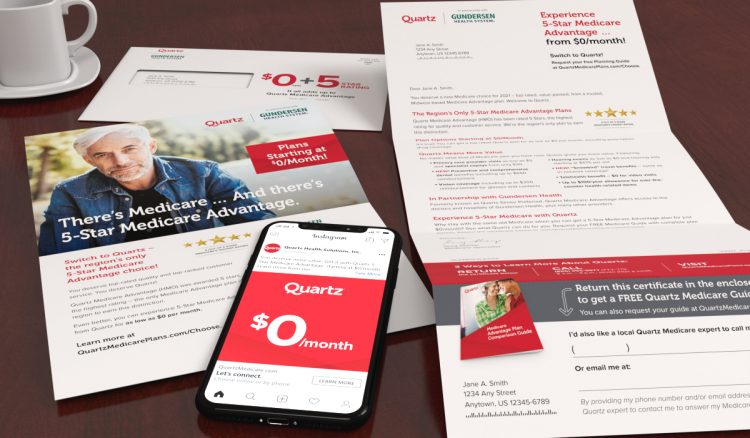 Quartz letter package including letter, one sheet and envelope with an iPhone displaying a Quartz social ad