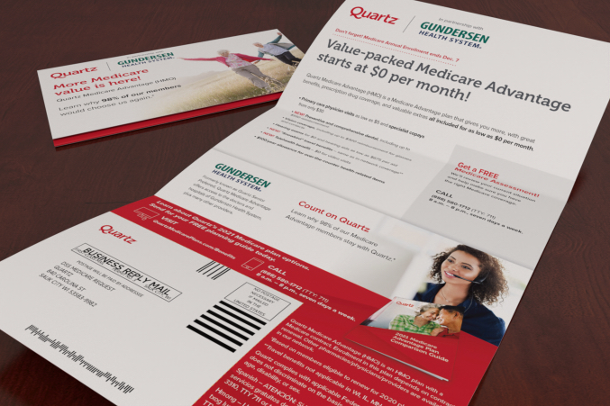 Up close image of a opened Quartz self mailer