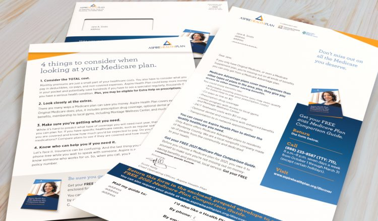 Aspire Health Plan letter package with OE, letter and insert