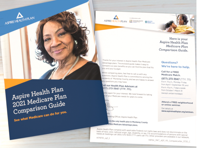 Cover of the Aspire Health Plan Medicare comparison guide and letter