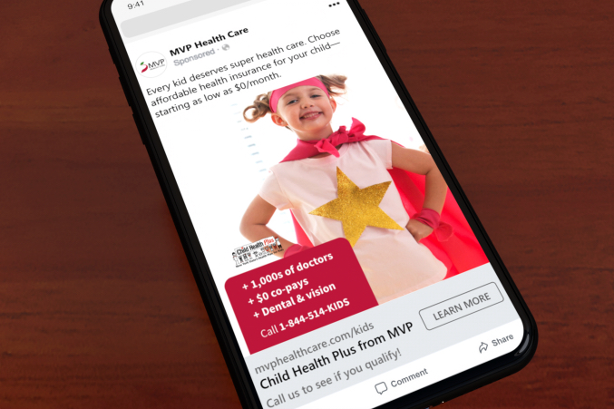 MVP Child Health Plus paid Facebook ad of young girl dressed as superhero
